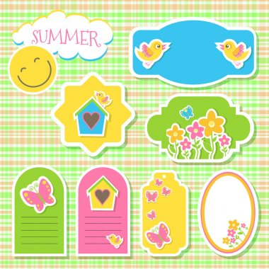 Birds and flowers. Vector set of stickers stock vector