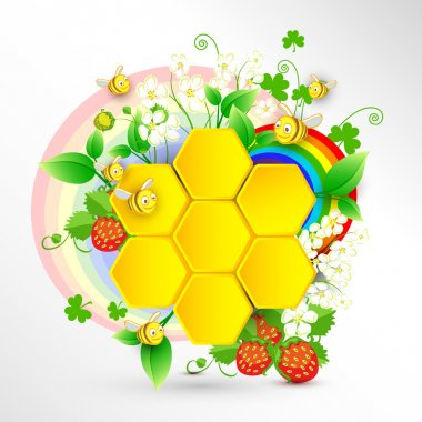 Bees and honeycombs over floral background with rainbow stock vector