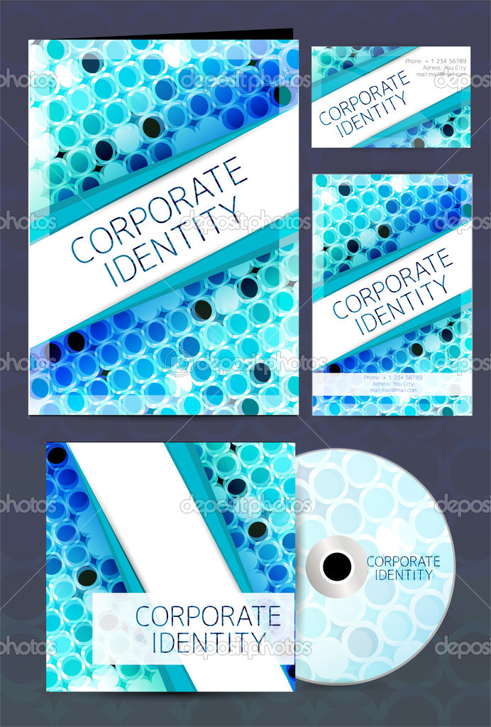 Corporate Identity kit or business kit with artistic, abstract design in blue color for your business includes CD Cover, Business Card and Letter Head Designs in EPS 10 format. stock vector