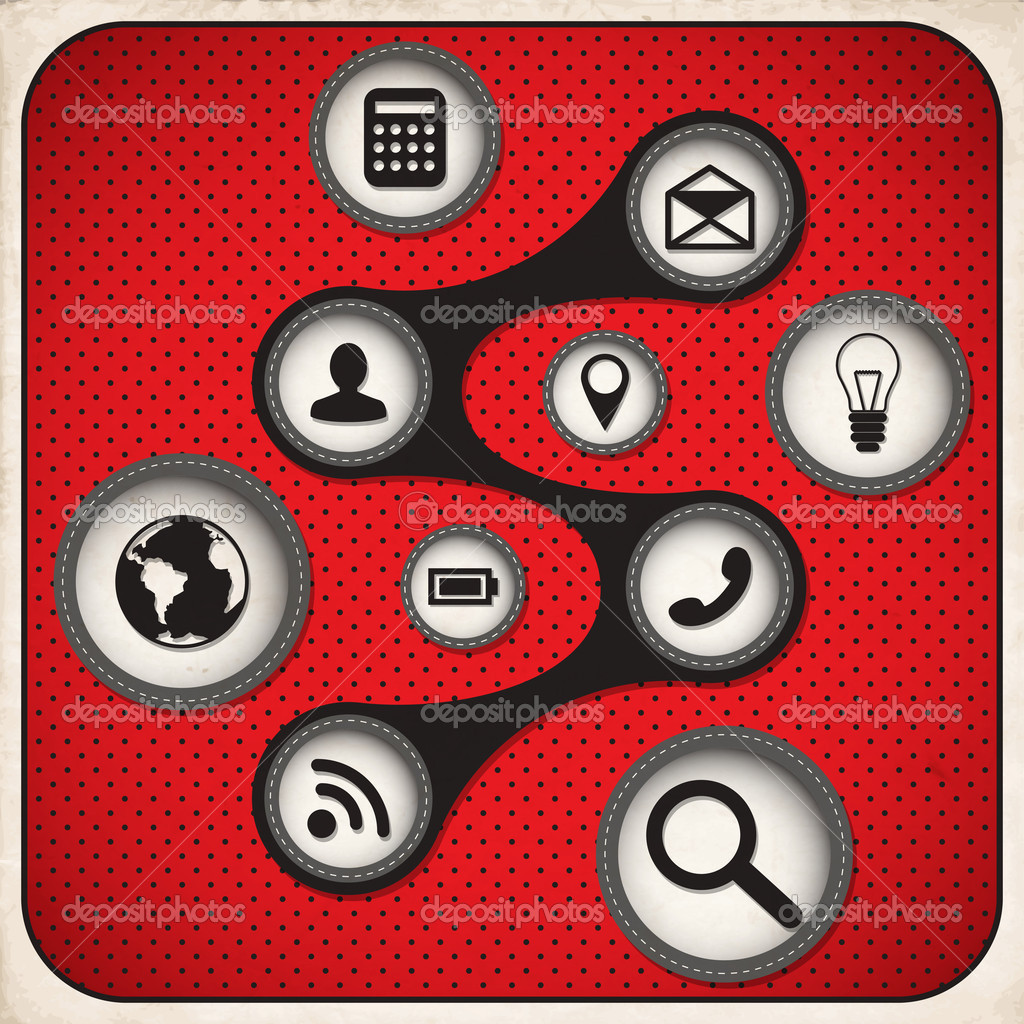 Blogging icons set White and Red Series. Vector stock vector