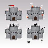 castle and guns with kernels. vector illustration