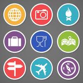 Cestování a cestovní ruch sada ikon. Vektorové ilustrace
