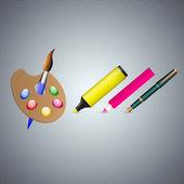 Füller, Filzstift, Bleistift und Pinsel. Vektorillustration