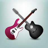 Acoustic guitar and electric guitar vector illustration