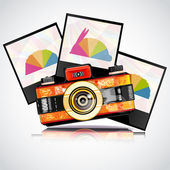 Retro camera with photos