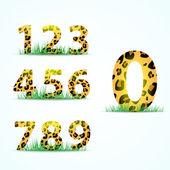 Nummerierung mit Pantherhautstruktur. Vektorillustration
