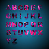 Abstract alphabet on blue background