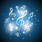 Musical notes and treble clef