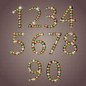 Diamond numbers set vector illustration