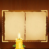 Old book and candle. Vector illustration