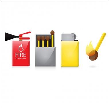 Four fire symbols, vector illustration stock vector