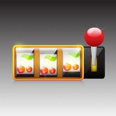 Cherries on slot machine. Vector. stock vector