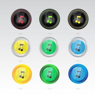 Music note button. Set of vector stock vector