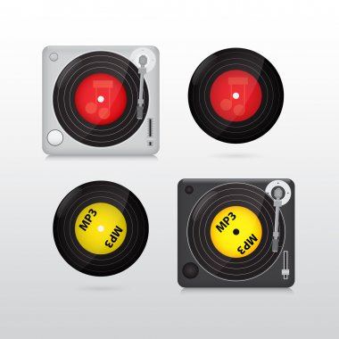Vynil disk record. Set of vector stock vector