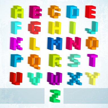 Multicolored blocks alphabet. Vector illustration. stock vector