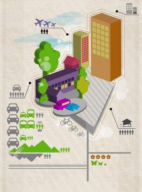 Set of city social infographics. Vector illustration stock vector