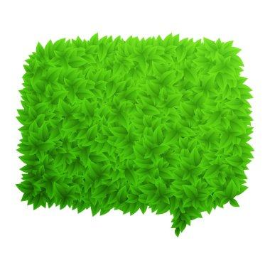 Speech bubble of green leaves vector illustration stock vector