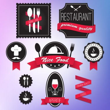 Collection of vintage retro restaurant labels vector illustration stock vector