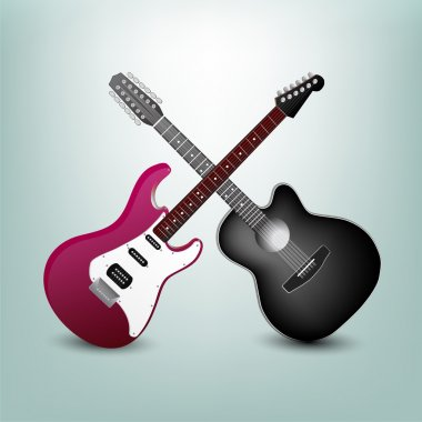 Acoustic guitar and electric guitar vector illustration stock vector