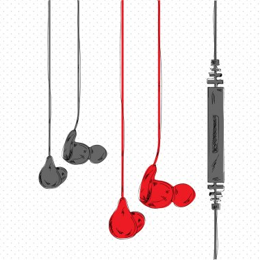 Collection of earphones vector illustration stock vector