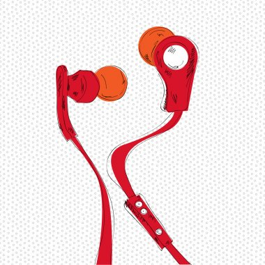 Vector illustration of red earphones stock vector