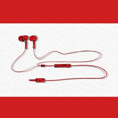Red earphones vector illustration stock vector