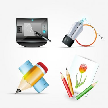 Icon set ink pen and pencil, mail. Vector illustration stock vector