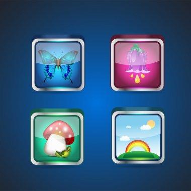 Seasons set of square dim icons. Vector illustration stock vector