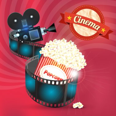 Box of popcorn and film reel. Vector illustration stock vector