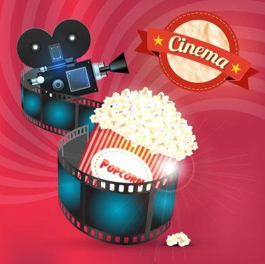 Box of popcorn and film reel. Vector illustration