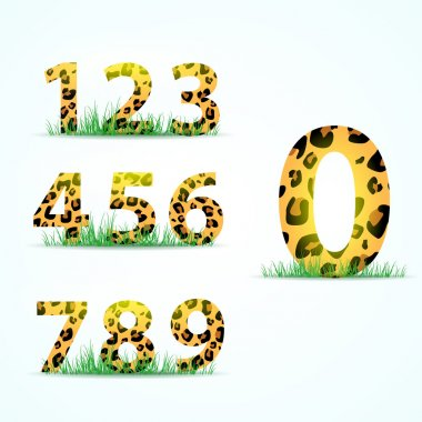 Numbering with panther skin texture. Vector illustration stock vector