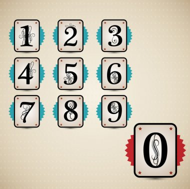 Classical numbering design element set. Vector illustration