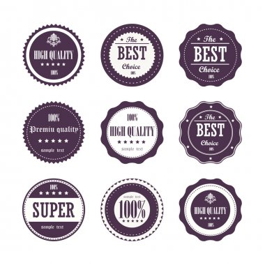 Collection of Vintage High Quality labels stock vector