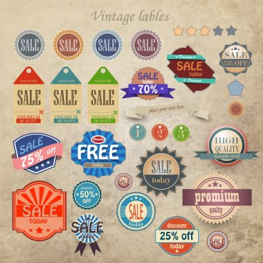 Vintage discount and high quality labels stock vector
