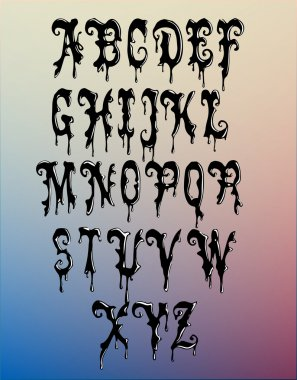 Black wax alphabet vector illustration stock vector