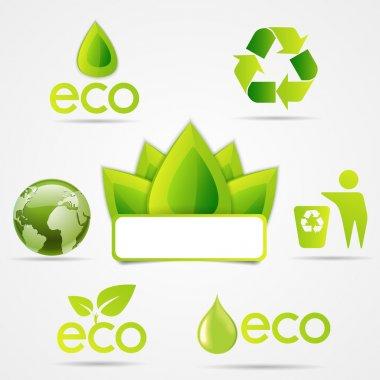 Eco icons set, green colour