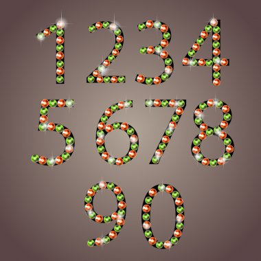 Diamond numbers set vector illustration stock vector