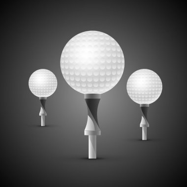 Three realistic golf balls on tees stock vector