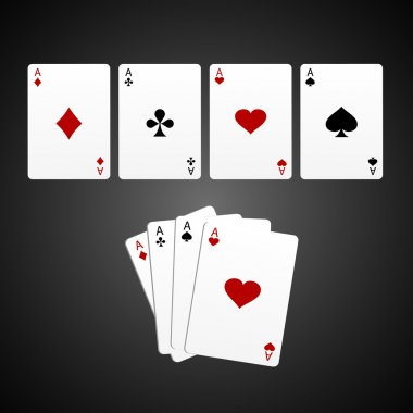 Aces isolated on black background stock vector