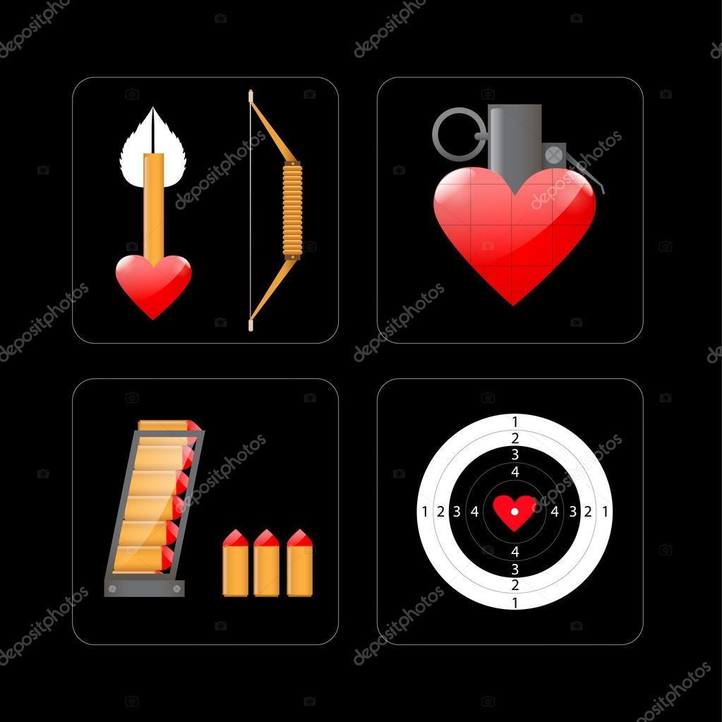 Vector illustration of shooting target and objects with heart stock vector