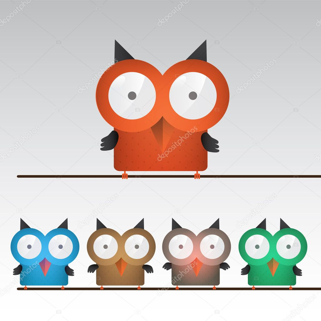 Vector illustration of colorful owls stock vector