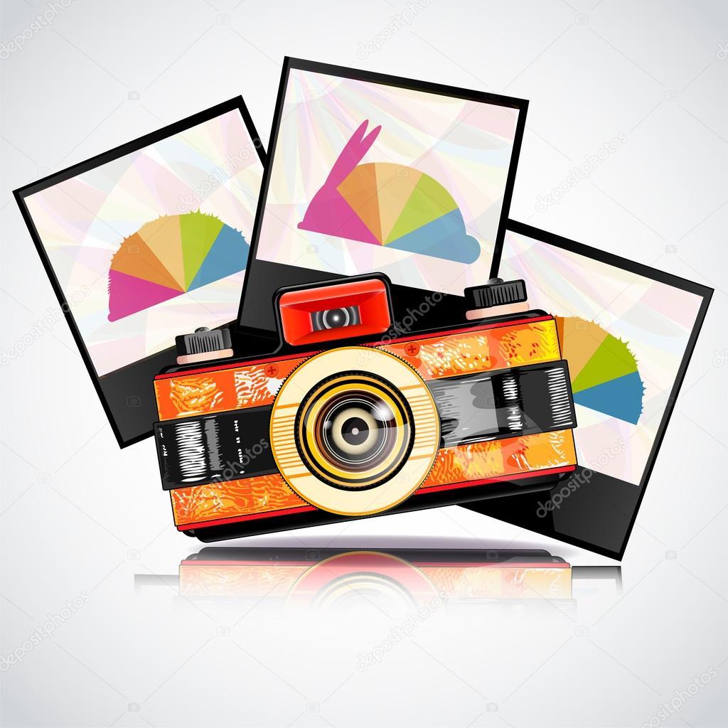 Retro camera with photos stock vector