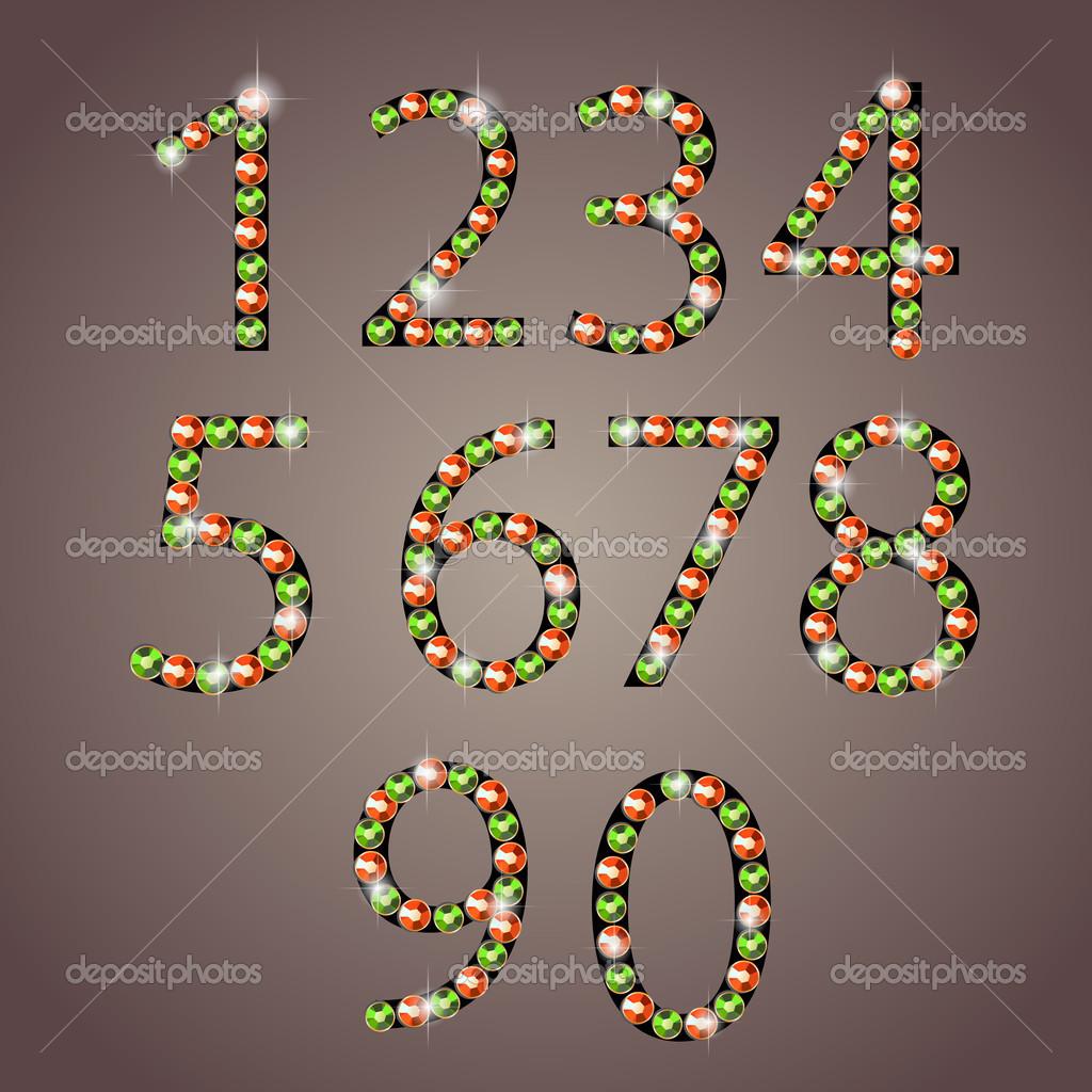 Diamond numbers set vector illustration stock vector