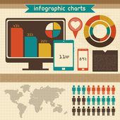 Retro infographics set. Mapa světa a informační grafika