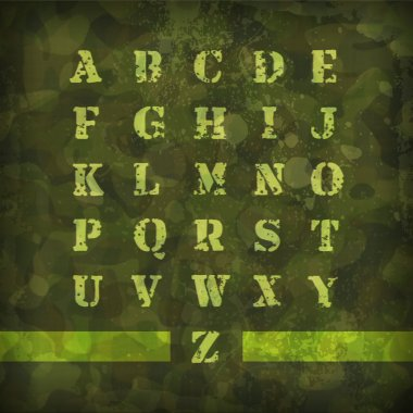 Military Vintage Alphabet vector illustration stock vector