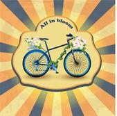 flower vintage bicycle illustration