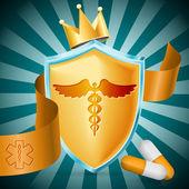 Medical sign over label background. vector illustration