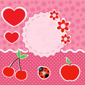 Vector set of pink frames with hearts.