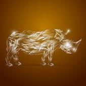 Abstract glass rhino, vector illustration