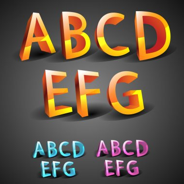 Glowing Alphabet vector illustration stock vector